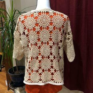 Sweaters - Handmade crochet lace open front cardigan Sz L
